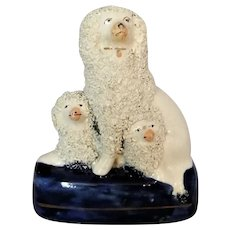 English Porcelain Staffordshire Poodle With Puppies Antique c.1830.