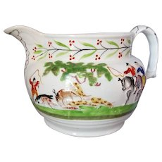 English Porcelain Jug With Hunting Themed Decoration Antique c.1853.