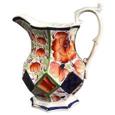 English Porcelain Gaudy Welsh 'Harlech' Jug Antique c1835