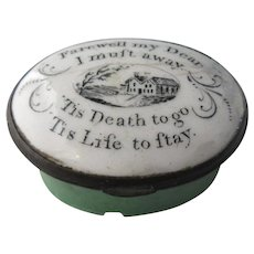 Enamel Patch Box 'Farewell My Dear' Antique Georgian C1800.