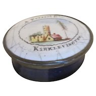 Enamel Patch Box 'A Present From Kirklevington' Antique Georgian C1800.