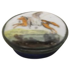 Enamel Patch Box 'Fox With A Goose' Antique Georgian C1800.