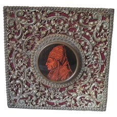 Reverse Painted On Glass Portrait Of Pope Gregory VIII In Ornate Metal Frame, Antique Victorian c.1880.