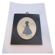 Miniature Painted Silhouette Of A Girl Antique Georgian Circa 1825.