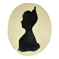 Antique Bronzed Silhouette of a Lady c.1840