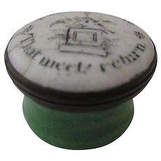 Enamel Patch Box 'Sweet's The Love...' Antique Georgian C1800.