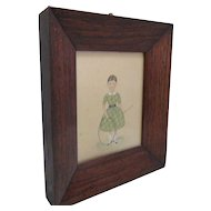 Pair of Primitive Watercolours Depicting Young Girls Antique Victorian c.1840