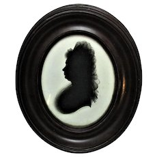 Framed Silhouette On Plaster By Isabella Beetham Antique C.1780