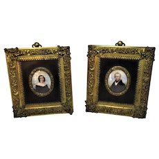 A Fine Pair Of Miniatures 'His & Hers' Antique Georgian