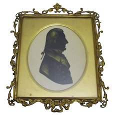 Framed Silhouette With Gilt Highlights Antique Victorian c1840.