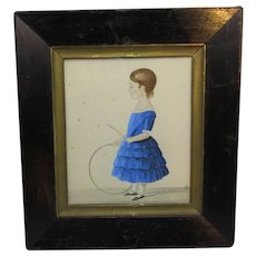 Framed Naive Watercolour Painting Of Child Antique Georgian c1830.