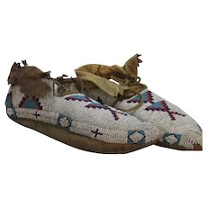 Native American Indian Navaho Beaded Moccasins Antique.