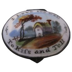Enamel Patch Box 'I Love Too Well To Kiss And Tell Antique Georgian C1790.