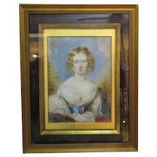 Framed Watercolour Painting On Opalescent Glass Mount Antique Victorian c1840 English.