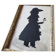 Framed Cut Out Silhouette Of Girl With Flower Antique Victorian c1840.