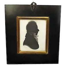 Framed Antique Silhouette of a Georgian Gent by William Allport c1825.