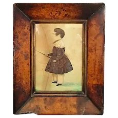 Small Antique Victorian Primitive Framed Watercolour of a Boy c1840.