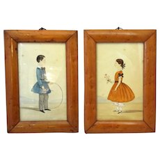 Pair Small Framed Watercolours of Children Antique Victorian c 1840.