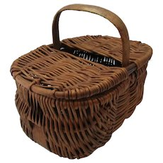 Vintage Miniature Wicker Basket c1920s.