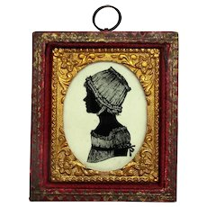 Antique Victorian Miniature Reverse Painted Portrait of a Girl.