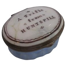 Antique Georgian Enamel Patch Box 'A Trifle from Huntspill' c1800.