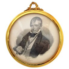 Antique Framed Pencil Drawing of Walter Scott by J.W. Moon c1834.