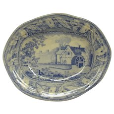 Antique Victorian Small Blue & White Abbey Mill Pin Dish.