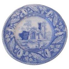 Small Blue & White De Gaunt Castle Pin Dish Antique Victorian.