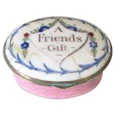 """Enamel Patch Box """"A Friends Gift"""" Antique c1800."""