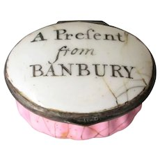 "Antique Enamel Patch Box ""A Present from Banbury"" Oxfordshire UK c1800."