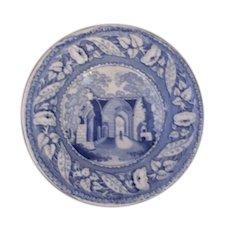 Child's Souvenir Blue & White Plate of Kenilworth Priory Antique Victorian.