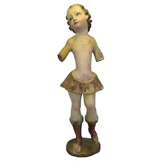 Painted Wood Carving Of Girl Antique c.1800.