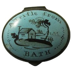 Enamel Patch Box Inscribed 'A Trifle From Bath' Antique c.1800.