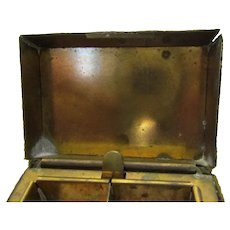Leather Covered Metal Stamp Box Antique c.1900.