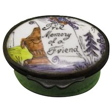 Enamel Patch Box 'In Memory Of A Friend' Antique C.1800.