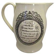 Porcelain Liverpool Creamware Landlord Jug Antique c.1800.