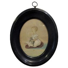 Primitive Miniature Watercolour of Child & Cat Antique c1825.