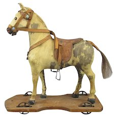 Wood & Leather Pull Horse Toy Antique c.1900.