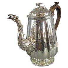 English Silver Plate Coffee Pot Sheffield Antique Georgian c1760