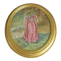 Framed Embroidery of a Girl in Pink Dress Antique Georgian c1790