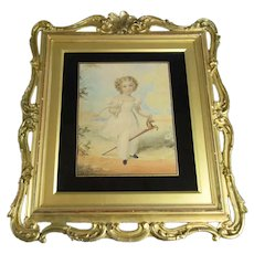 Framed Watercolour Painting of Child with Hobby Horse Antique Georgian c1810