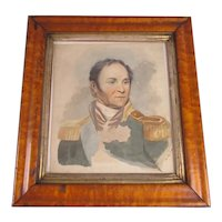 Framed Watercolour Painting of an Officer Antique Victorian c1840