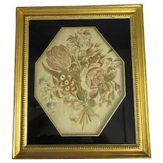 Framed Silk Embroidery Picture of Flowers Antique Georgian c1790
