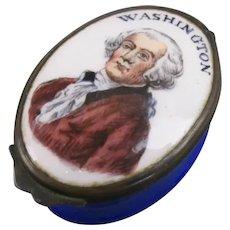 Rare George Washington Enamel Box Antique c1800