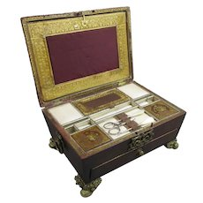 Quality Leather Covered Sewing Box Antique Regency c1820
