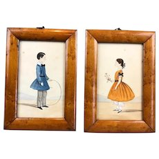Pair Of Primitive Watercolours Antique c1830
