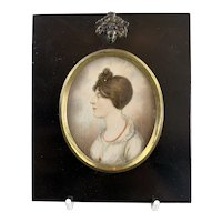 Miniature Watercolour on Canvas Portrait Antique Georgian c1810