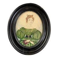 Miniature Watercolour on Canvas Portrait of a Lady Antique Georgian c1830