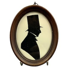 Frame Silhouette Of A Gentleman Antique Victorian c1840