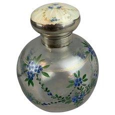 Sterling Silver Top Glass Perfume Bottle Vintage Birmingham 1939